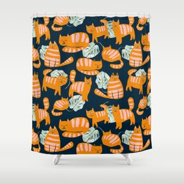 Whimsicat, Whimsical Quirky Pet Cat Illustration, Garfield Tropical Eclectic Monstera Fun Animal Shower Curtain