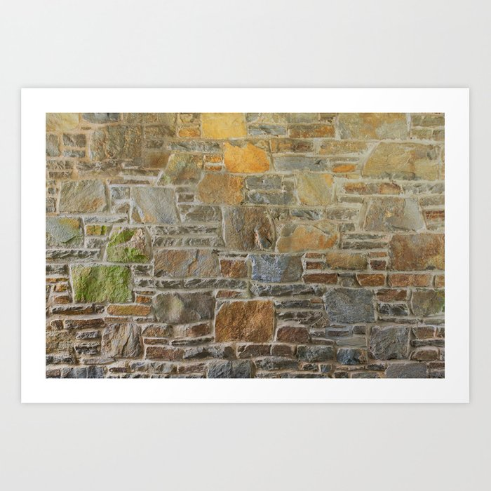 Avondale Brown Stone Wall and Mortar Texture Photography Art Print