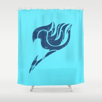fairy tail Shower Curtains featuring Fairy Tail Segmented Logo Gray by JoshBeck