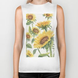 Blooming Sunflowers Biker Tank