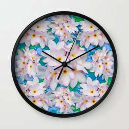 Plumeria Bouquet Exotic Summer Pattern Wall Clock