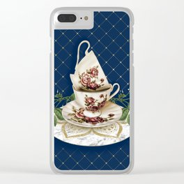 Vintage Rose Tea Cups Clear iPhone Case