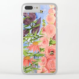 Cottage Garden Butterfly Bush Watercolor Illustration Clear iPhone Case