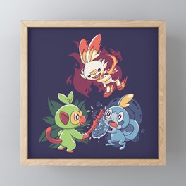 Starters // Grass Monkey, Fire Bunny, Water Frog - Dark Ver Framed Mini Art Print