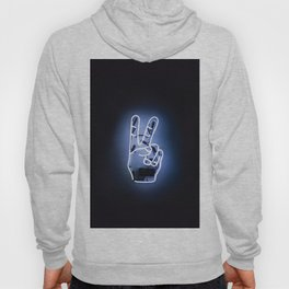 Peace Sign Hand Neon Sign Hoody