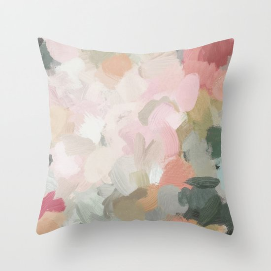 Forest Green Fuchsia Blush Pink Abstract Flower Spring Painting Art by rachelelise