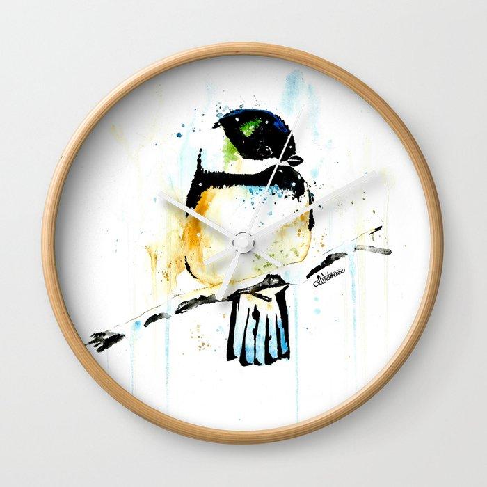 Chickadee - Winter friend Wall Clock