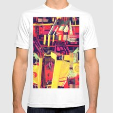 Industrial Abstract Red Mens Fitted Tee MEDIUM White