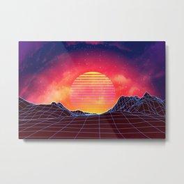 Sunset vaporwave landscape with mountains Metal Print