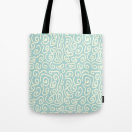 Off white and mint green abstract swirls pattern Tote Bag