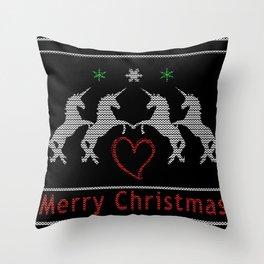 Unicorn Christmas Throw Pillow