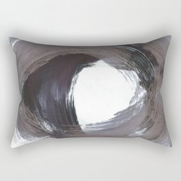 Circular Gestural Brushstroke Grey Abstract Painting Rectangular Pillow