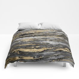 Stylish gold abstract marbleized paint Comforters