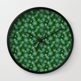 Festive Snowflakes in Green and Gold Wall Clock
