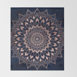 Boho rose gold floral mandala on navy blue watercolor Throw Blanket