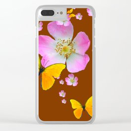 COFFEE BROWN YELLOW BUTTERFLIES & PINK WILD ROSES Clear iPhone Case