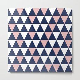 Triangular: Pink, Navy Blue, and White Minimalist Geometric Pattern Metal Print