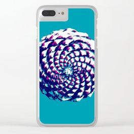 pine cone in aqua, purple and indigo Clear iPhone Case