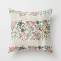 tote bag Throw Pillows featuring Floral Spring Tote bag by SamuelChinchilla