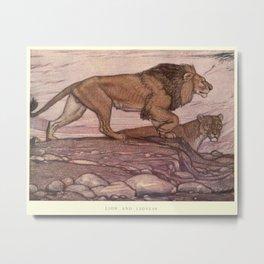 Vintage Lion Painting (1909) Metal Print