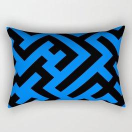 Black and Brandeis Blue Diagonal Labyrinth Rectangular Pillow