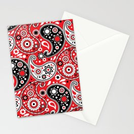 Modern Red Paisley Big and Bold Stationery Cards
