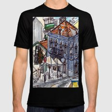 Buarcos, Portugal MEDIUM Black Mens Fitted Tee