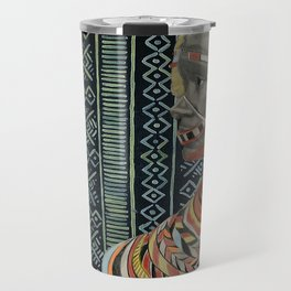The Red Beads/mud cloth background Travel Mug