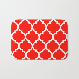 MOROCCAN RED AND WHITE PATTERN Bath Mat