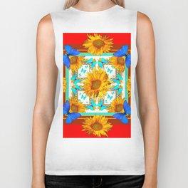 Cerulean Blue Butterflies & Yellow Sunflowers on Red Biker Tank
