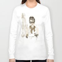 notebook Long Sleeve T-shirts featuring My breakfast at Tiffany's by Cecilia Sánchez