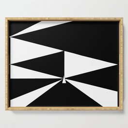 Triangles in Black and White Serving Tray