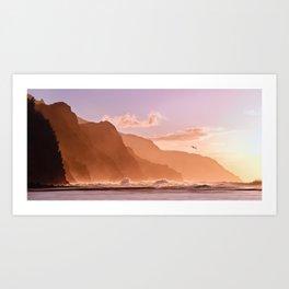 Sunset over the Na Pali coast of Kauai Art Print
