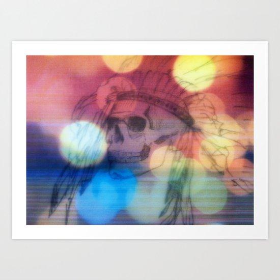 indian skull and lights Art Print