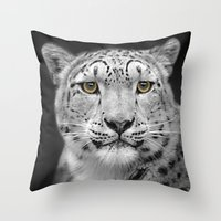 snow leopard Throw Pillows featuring Snow Leopard by Linsey Williams Art
