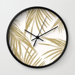 Gold Palm Leaves Dream #1 #tropical #decor #art #society6 Wall Clock