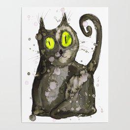 Big fat black cat Poster