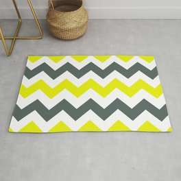 Chevron Pattern In Limelight Yellow Grey and White Rug