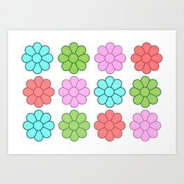 Multi Coloured Symmetrical Flower Pattern Art Print