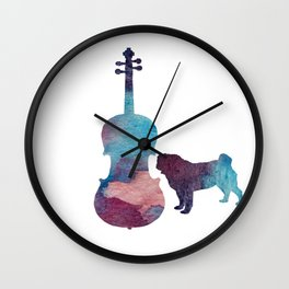 Viola pug art Wall Clock