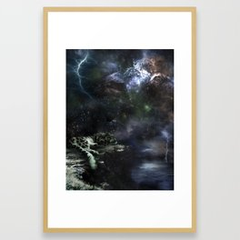 Snow Leopard Storms Framed Art Print