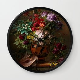 """George Jacobus Johannes van Os """"Still Life with Flowers in a Greek Vase Allegory of Spring"""" Wall Clock"""