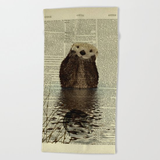 Otter in Love Beach Towel