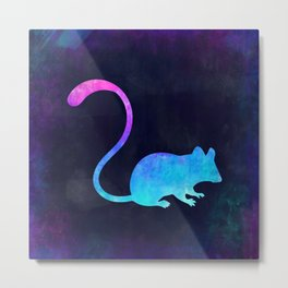 MOUSE IN SPACE // Animal Graphic Art // Watercolor Canvas Painting // Modern Minimal Cute Metal Print