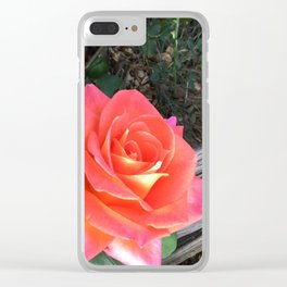 Rose On a fence Clear iPhone Case