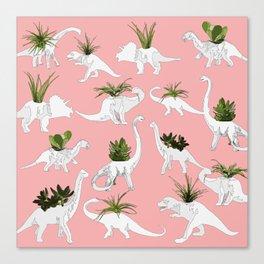Dinosaurs & Succulents Canvas Print