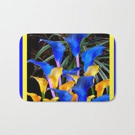BLUE-BLACK MODERN ABSTRACT BLUE & GOLD CALLA LILIES Bath Mat