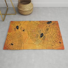 Halloween Spiderwebs Watercolor - Kitschy Vintage Spooky All Hallows Eve Rug