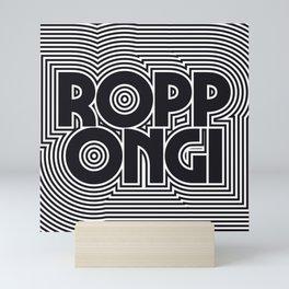 Tokyo Roppongi Black & White Outline Text Pattern Mini Art Print