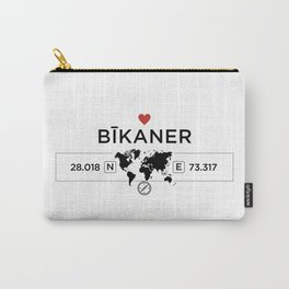 Bīkaner - India - World Map with GPS Coordinates Carry-All Pouch